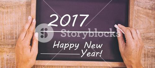 Black board with new year text