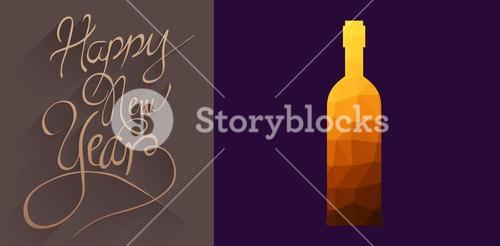 Composite image of animated bottle with mosaic