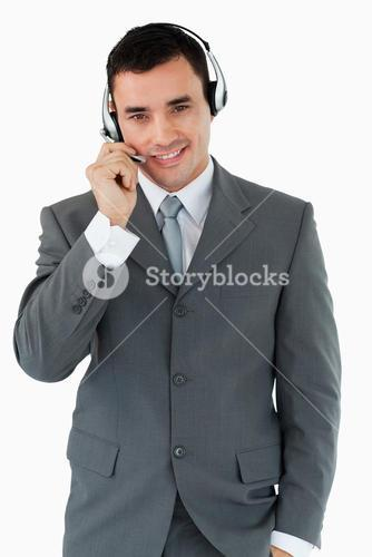 Male call center agent with headset on