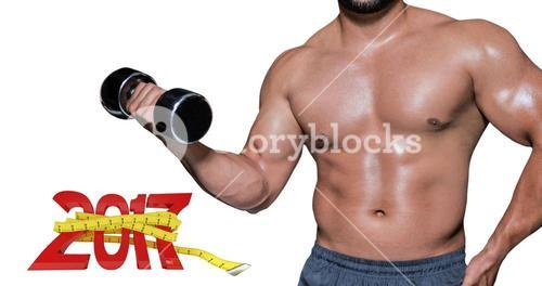3D Composite image of mid section of a bodybuilder with dumbbell