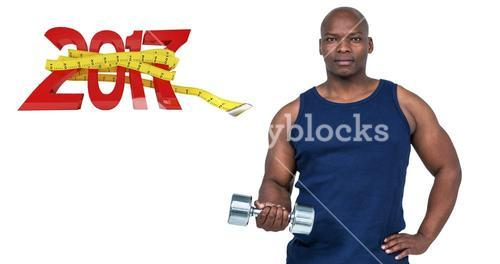 3D Composite image of muscular man exercising with dumbbell