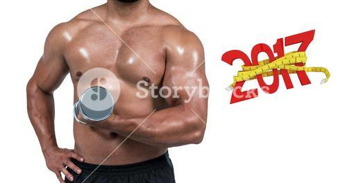 3D Composite image of muscular man lifting heavy dumbbell