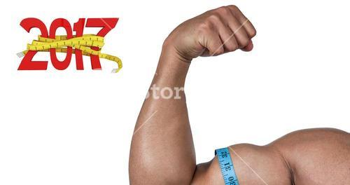 3D Composite image of muscular man flexing for camera