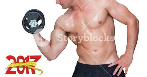 3D Composite image of bodybuilder lifting dumbbell