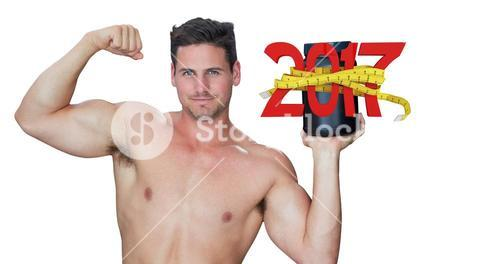 3D Composite image of bodybuilder with protein powder