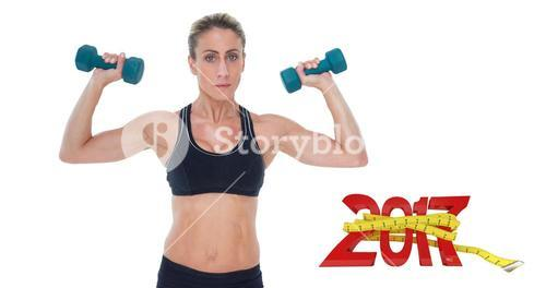 3D Composite image of female bodybuilder holding two dumbbells with arms up