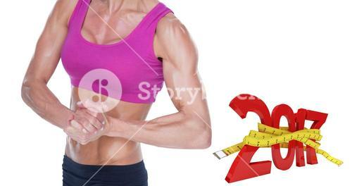 3D Composite image of female bodybuilder flexing in sports bra and shorts