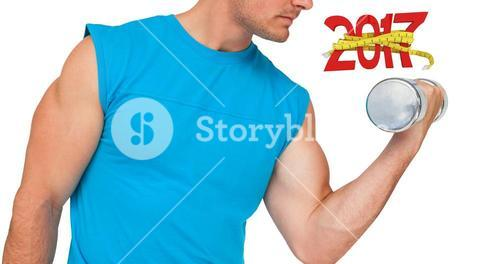 3D Composite image of close-up mid section of fit man exercising with dumbbell