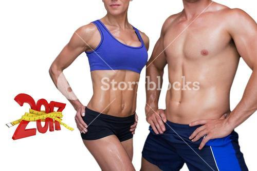 3DComposite image of bodybuilding couple