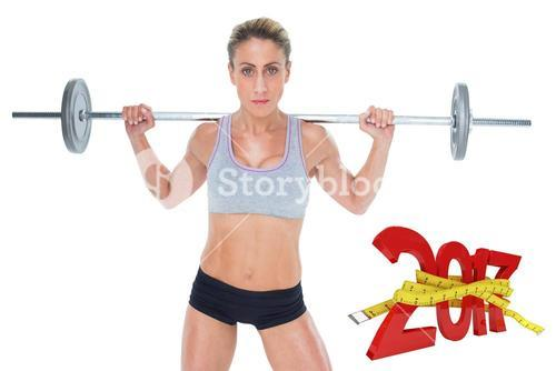 3D Composite image of strong female crossfitter lifting barbell behind head