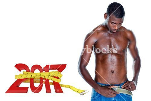 3D Composite image of fit shirtless young man