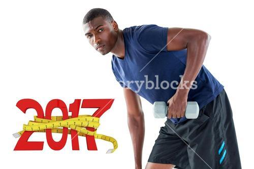 3D Composite image of portrait of casual young man lifting dumbbell