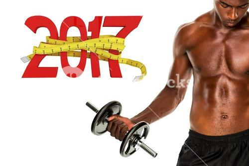 3D Composite image of mid section of fit shirtless young man lifting dumbbell