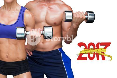 3D Composite image of bodybuilding couple