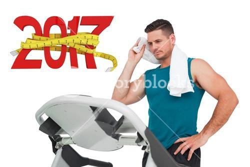 3D Composite image of young man running on a treadmill