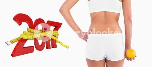 3D Composite image of rear view of female slender body in shorts