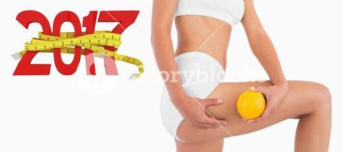 3D Composite image of slender female body holding orange and squeezing her thigh