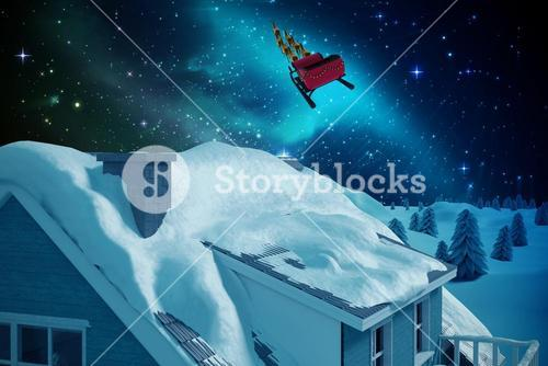 3D Composite image of snow on roof of house