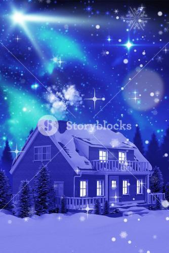 3D Composite image of illuminated turquoise house covered in snow