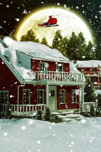 3D Composite image of snow covered house