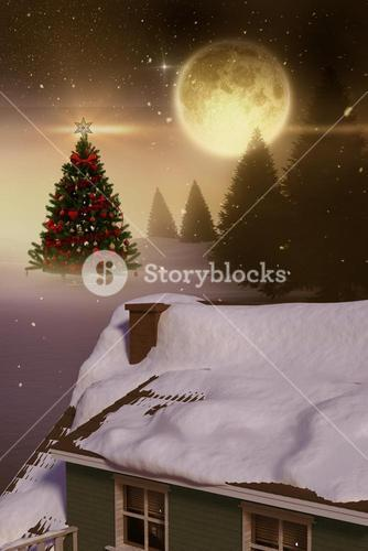 3D Composite image of snow covered roof of house