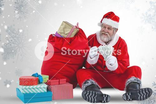 Composite image of santa claus sitting by christmas gifts and counting currency notes