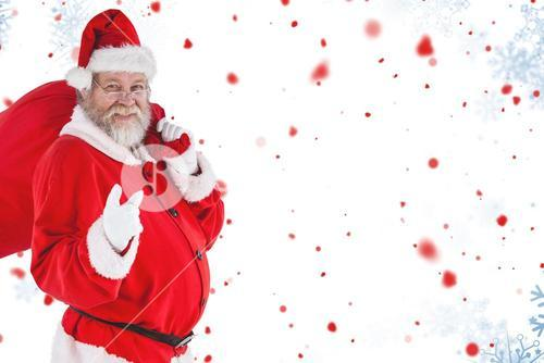 Composite image of portrait of santa claus pointing while carrying christmas bag