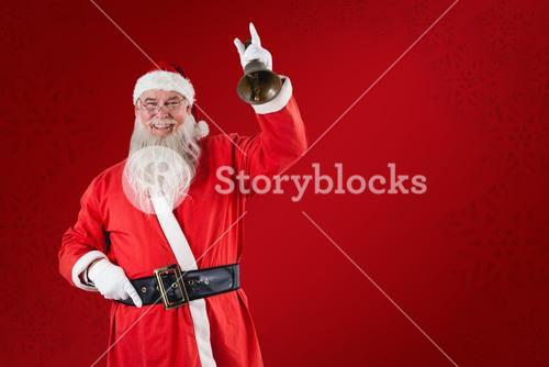 Composite image of santa claus ringing a bell