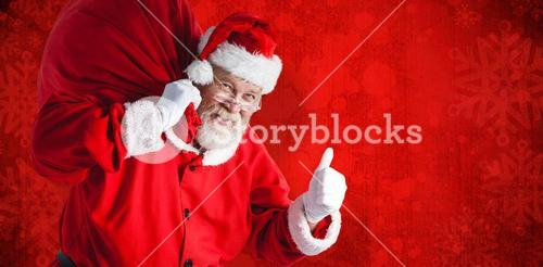 Composite image of portrait of santa claus holding christmas bag while gesturing
