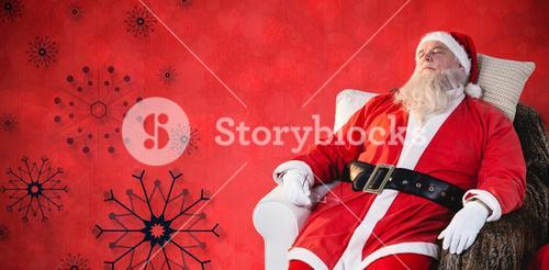Composite image of santa claus relaxing on sofa