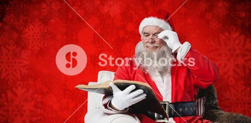 Composite image of santa claus reading bible on armchair