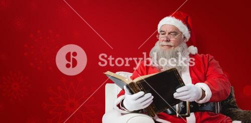 Composite image of santa claus reading bible