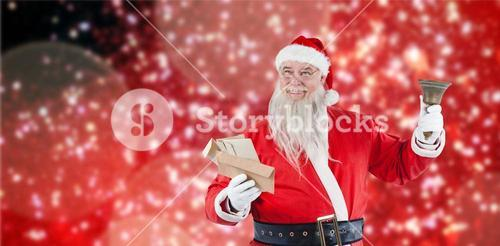 Composite image of santa claus holding envelope and bell