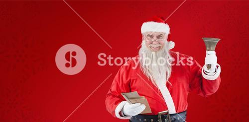 Composite image of santa claus holding envelopes and bell