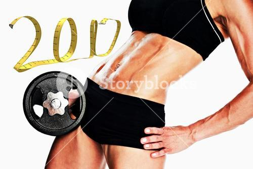 3D Composite image of female bodybuilder holding large black dumbbell mid section