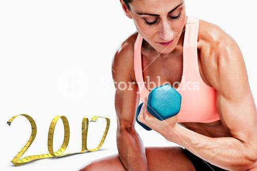 3D Composite image of strong woman doing bicep curl with blue dumbbell