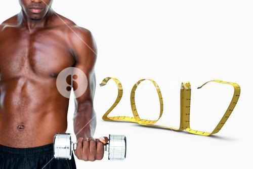 3D Composite image of serious fit shirtless young man lifting dumbbell