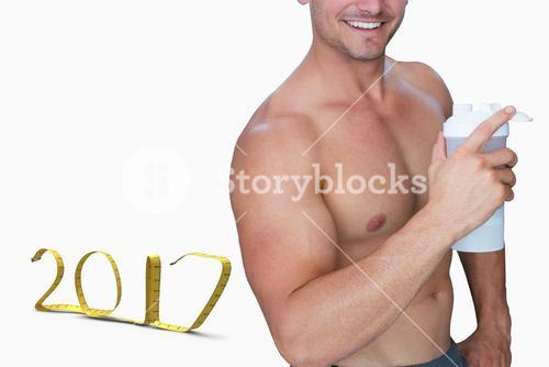 3D Composite image of bodybuilder holding flask