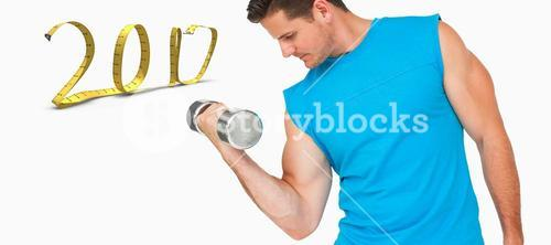 3D Composite image of fit young man exercising with dumbbell