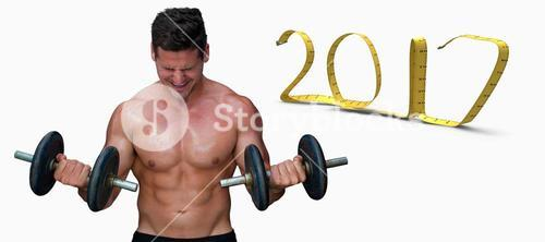 3D Composite image of bodybuilder lifting dumbbells