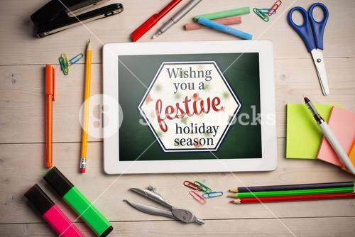 "Composite image of print ""wishng you a festive holiday season"""