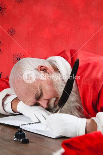 Composite image of santa claus sleeping at desk while writing letter