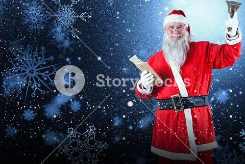 Composite image of santa claus holding bible and bell