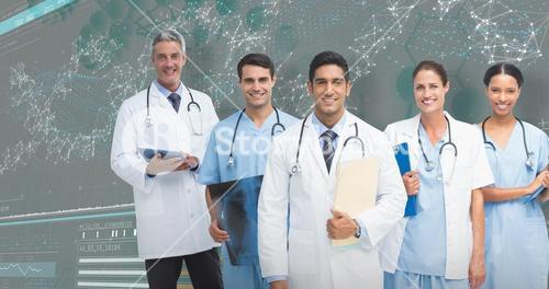 3D Composite image of portrait of male doctor with medical team