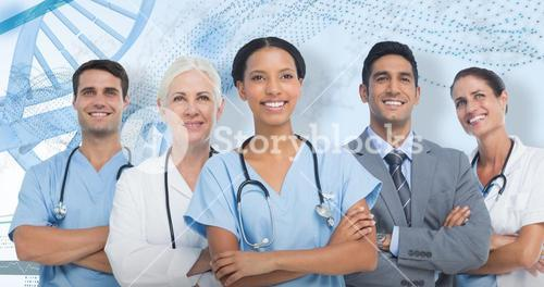 3D Composite image of confident medical team looking away
