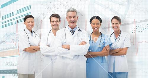 3D Composite image of portrait of smiling medical team standing arms crossed
