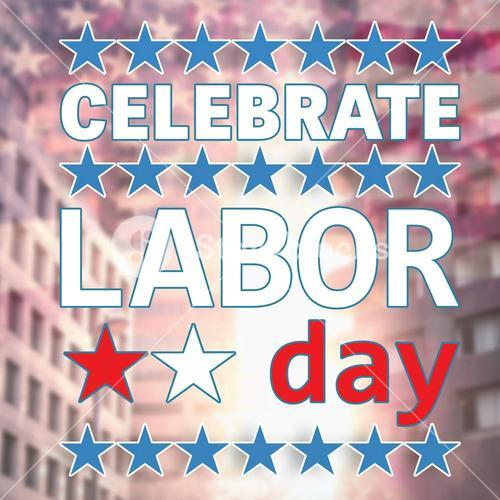 Celebrate labor day text and stars