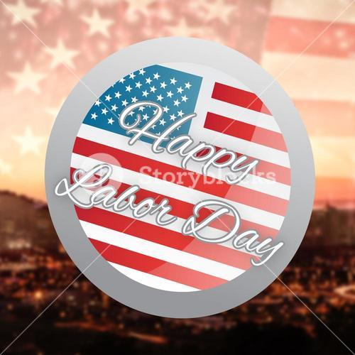 Composite image of happy labor day badge