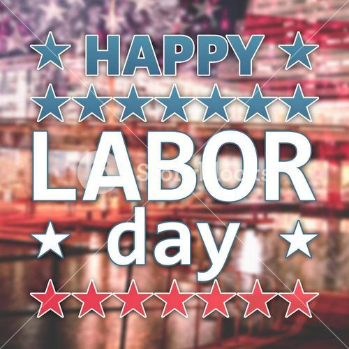 Composite image of happy labor day text with star shape