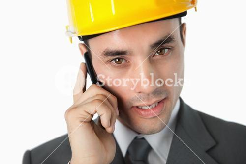 Close up of architect speaking on the phone